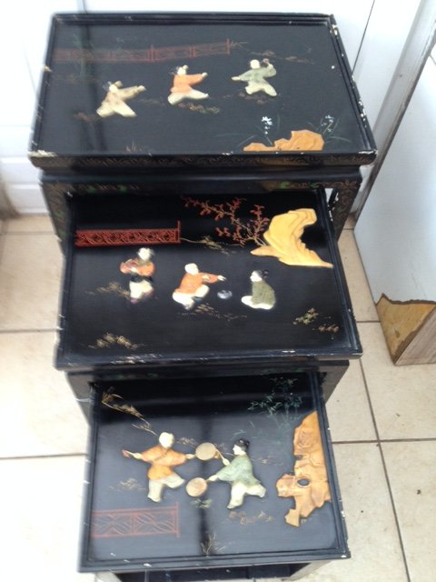 Sensible offers accepted for this early 20th century Chinese nest of three black lacquered tables