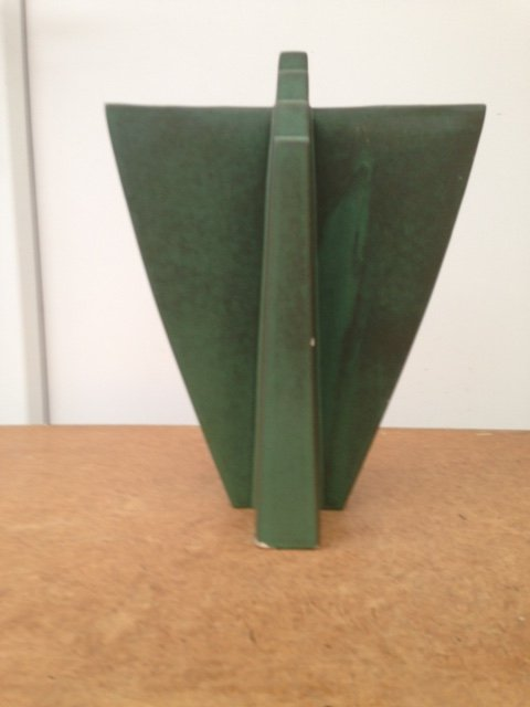 Art-deco 26cm by 23cm green V shaped sculpture by Claude Dumas