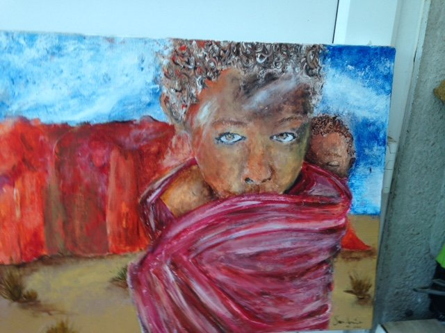 extremely compelling artwork of a young African girl carrying a child on her back,