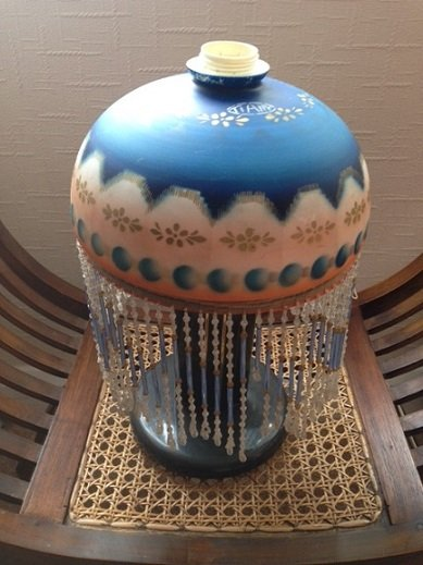 An attractive art-deco acid etched 25cm in diameter table lampshade with strung glass beading.