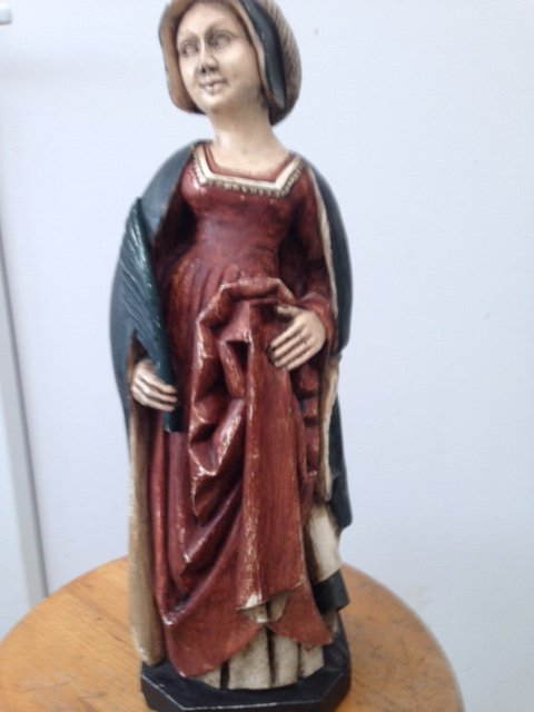 Antique Amazing 40cm high mid-20ty century version of a female figure in medieval dress and hand coloured and signed by French sculptor JL Detaroche