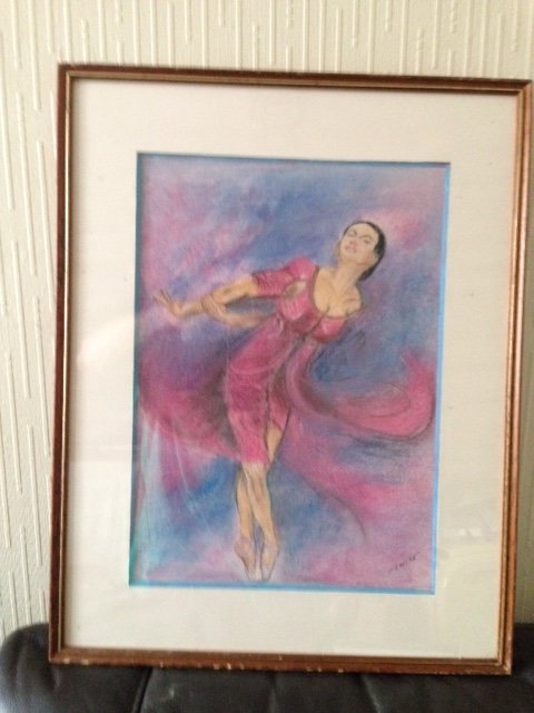 "Effortless motion"" by Denise, is this excellent 20th century pastel on paper of a female ballet dancer in movement, signed by the artist"