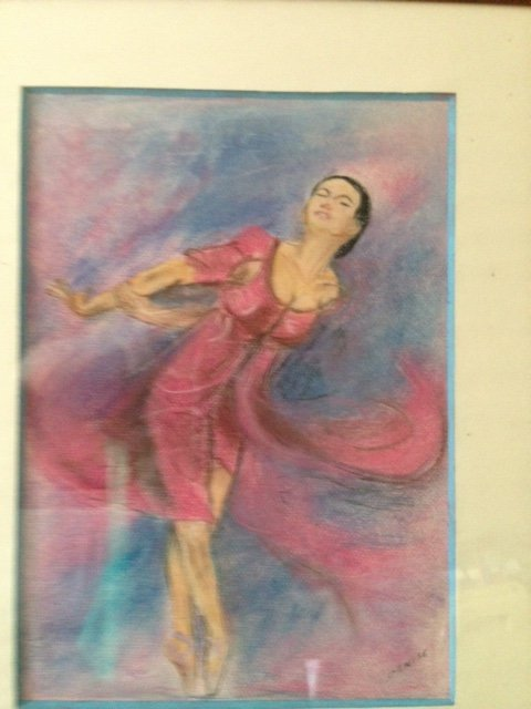"Antique  Effortless motion"" by Denise, is this excellent 20th century pastel on paper of a female ballet dancer in movement, signed by the artist"