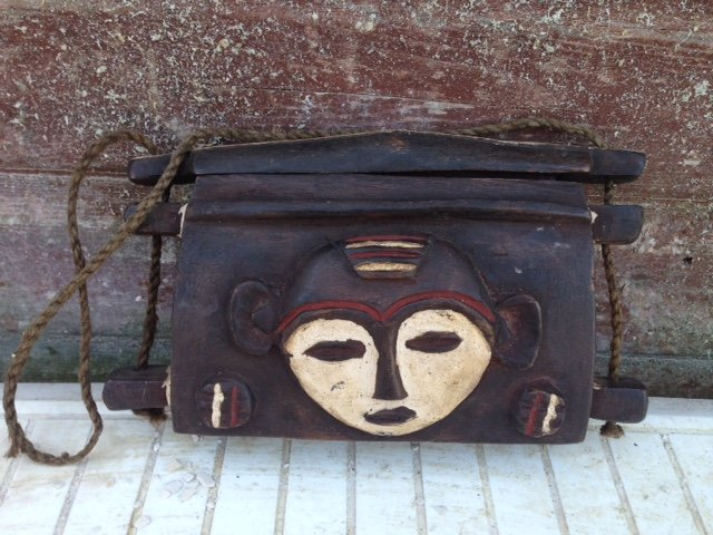 Authentic early to mid-20th century African tribal wooden carrier 23cm by 13cm