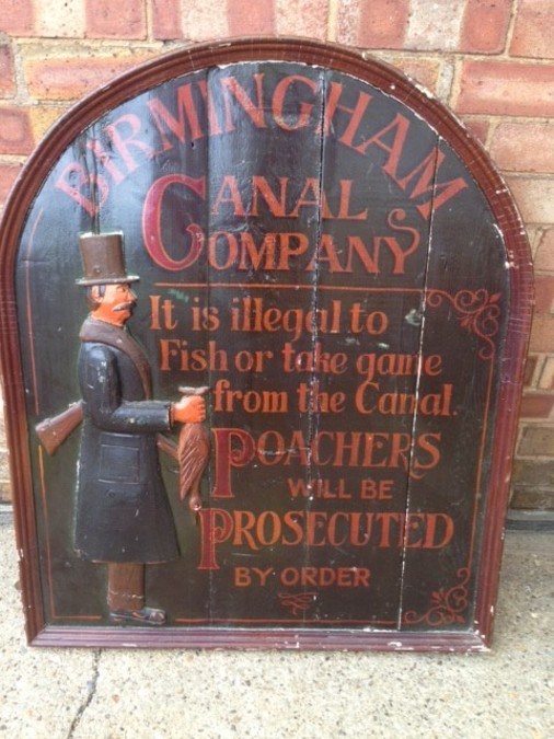 Antique An authentic rare 19th century wood and plaster Birmingham canal gamekeepers warning sign