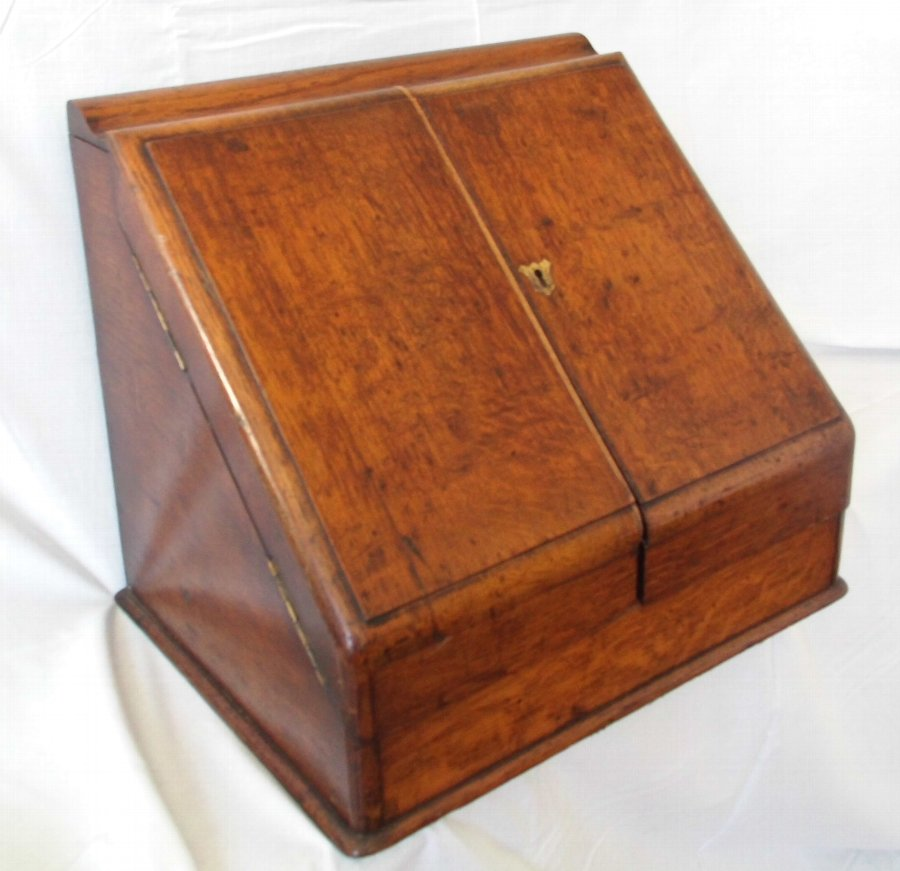 Antique Antique Victorian Desktop Oak Stationery Cabinet