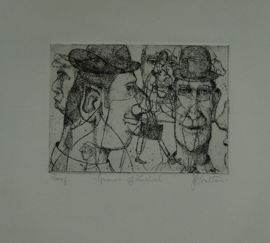 J V (?) WALTON 'THE GNOMES OF ZURICH. ETCHING