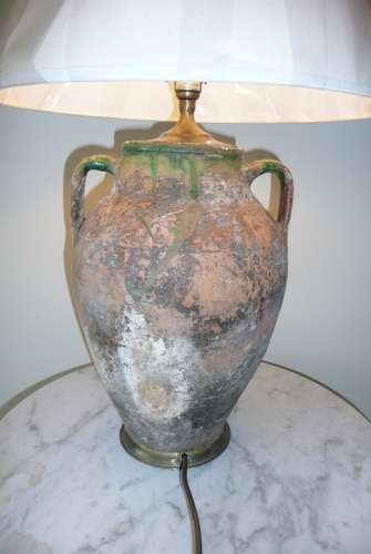 Antique TERRACOTTA URN TABLE LAMP.