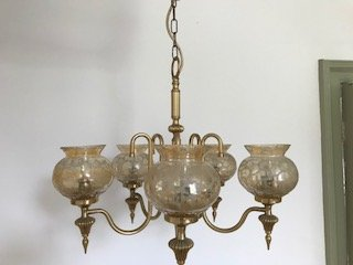 5 Arm Gold Chandelier