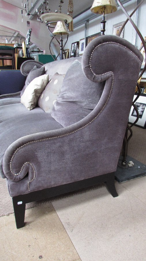 Antique Purple Fabric And Feather 3 Seat Sofa (CODE SOF002)