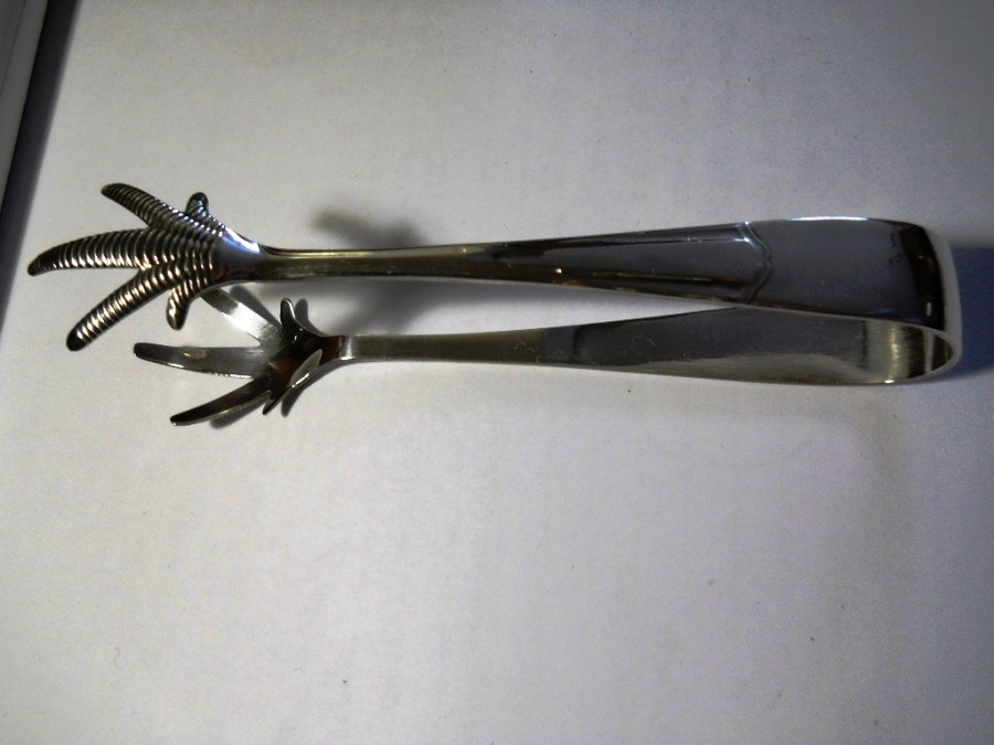 Antique VINTAGE ART DECO SILVER PLATED CLAW ICE TONGS