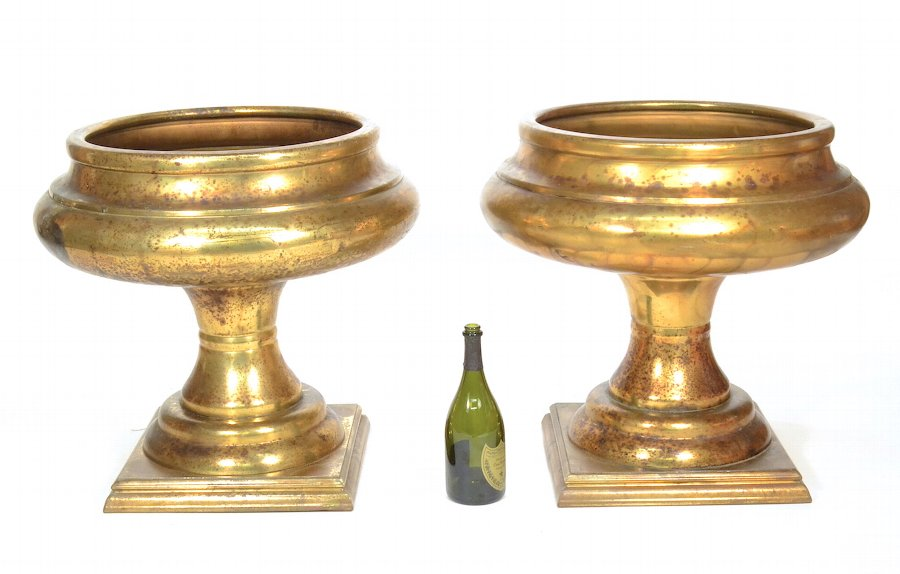 Large Pair Shaby Chic Brass Jardiniere