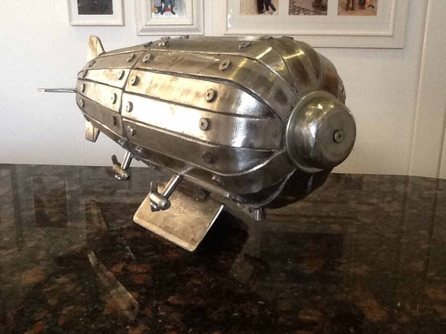 Steel hand made model Zeppelin air ship desk table ornament