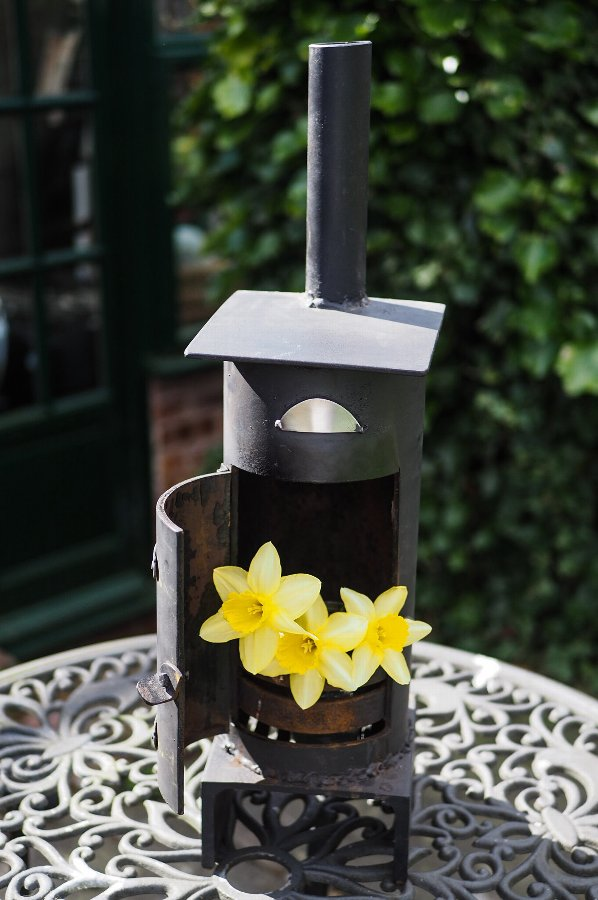 Mini steel log burner stove ornament garden feature