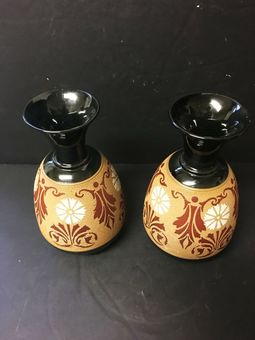Antique Two black and brown ground Langley vases.