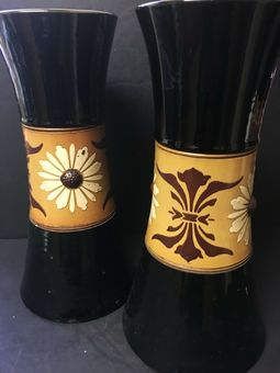 Antique Two black and brown  Osmon & Co vases, early 20th Century 34 cm tall.