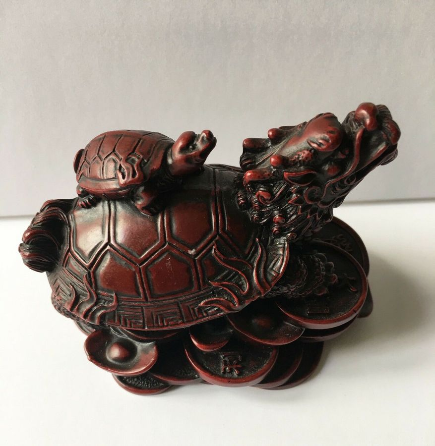Antique A Chinese Dragon Turtle Sculpture