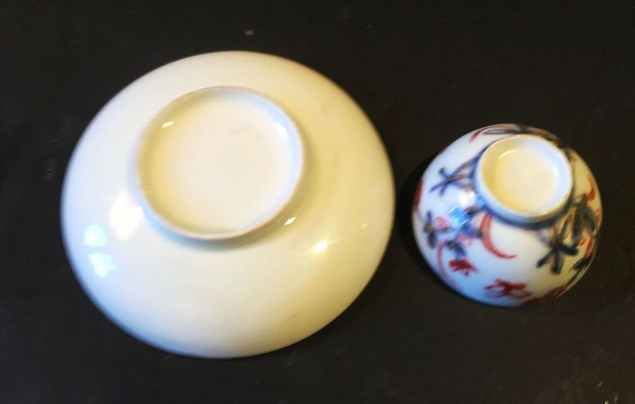 Antique An 18th century English porcelain miniature tea bowl and saucer.