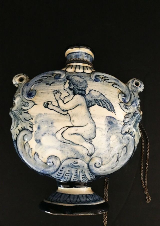 Antique Early Certosa di Firenze Italian Moon Flask.