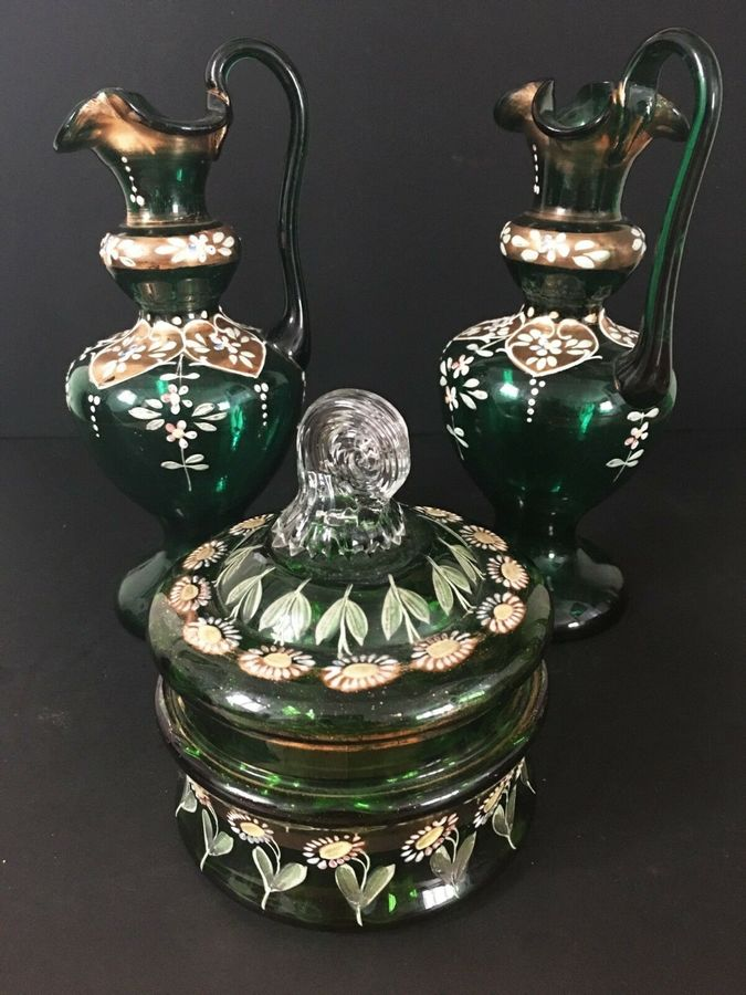 Antique Three pieces' decorative green glass