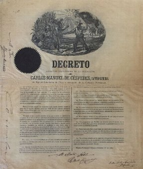 Antique SLAVERY ABOLITION: Carlos Manuel Cespedes del Castillo (1819-1874) Cuban Revolutionary. Known as the...
