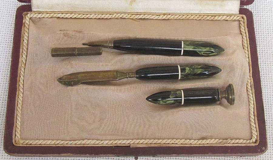 Antique Art Deco Bakelite /Catilin /Celluloid Desk Set 3 pieces. Leather Box