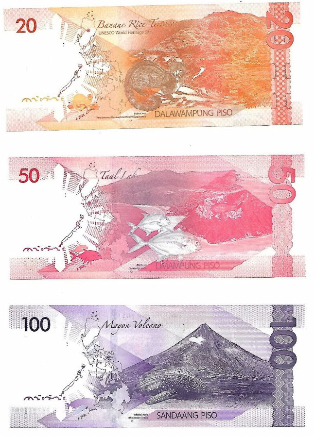 Antique 3 Banknotes(set) 2015-2017, Philippines, Uncirculated