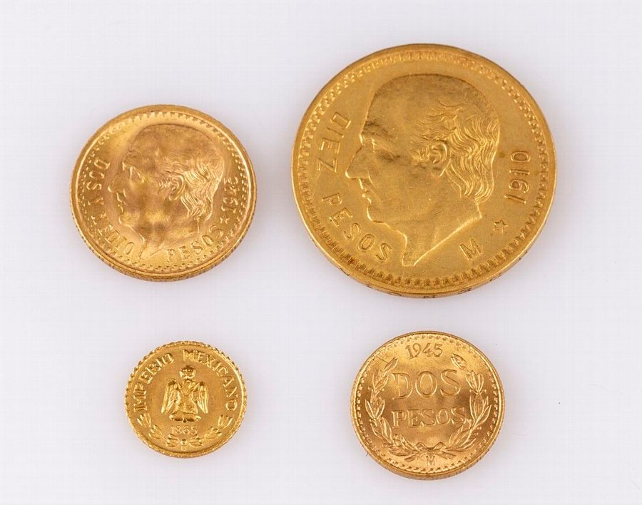 Antique Mexican Gold Peso Coins | ANTIQUES CO UK |