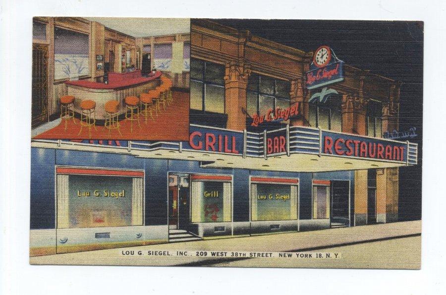 Antique New York Ny Lou G Siegel Bar Grill Vintage Kosher
