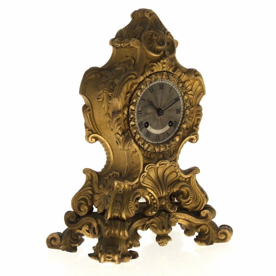 Antique French Bronze Clock, 19th Century.
