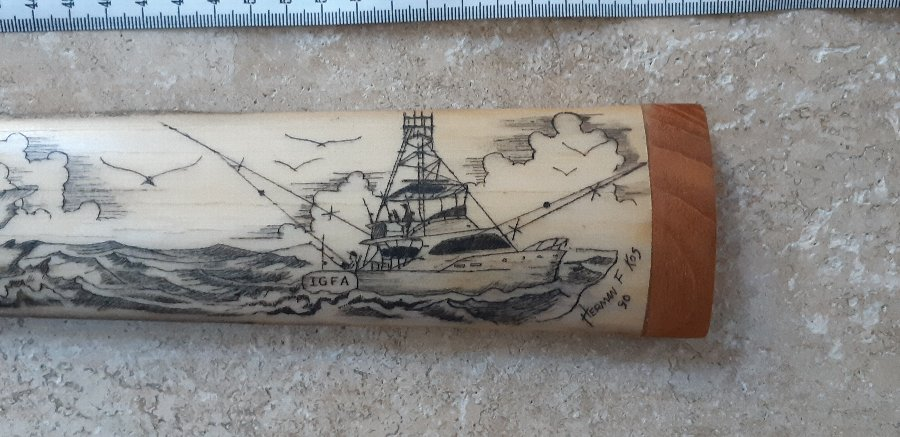 Antique Swordfifh scrimshaw