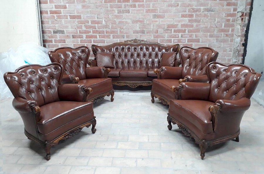 Vintage Classic Victoria Chesterfield Sofa and Four Wing Chairs  Warm Brown Leather  Living Room ...