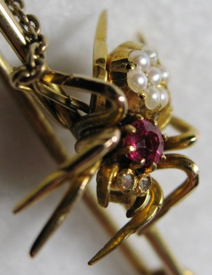 VICTORIAN SOLID GOLD, DIAMOND(S), RUBY & SOUTH SEA PEARL(S) SPIDER PIN BROOCH