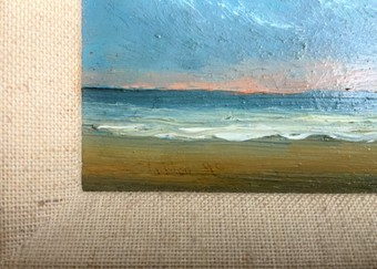 Antique FAB ORIGINAL 20thc MINIATURE IMPRESSIONIST DOVER BEACH LANDSCAPE OIL PAINTING