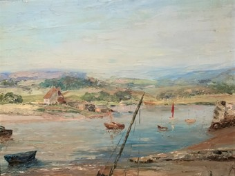 Antique Beryl Critchley (1914-2009) Sailing Boats - Estuary - Dartmoor - Oil Painting