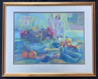 Antique Sue Wales' Lovely Large Contemporary Figural Fruit & Floral Watercolour Painting
