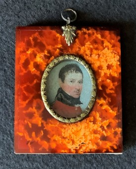 Antique 19thc - Faux Tortoiseshell Miniature Frame - Inc: Naval Officer portrait Print