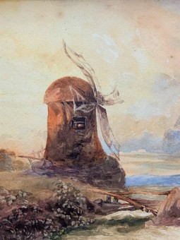 Antique Beautiful Original 19th Century Framed Windmill Landscape Watercolour Painting