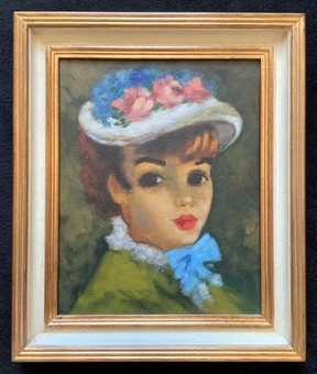 Antique Original Oil On Canvas Portrait Painting Of A Pretty Young Girl - Mid 20thc