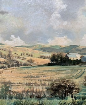 Antique A Stunning Original 20thc Welsh Landscape Oil Painting 'Teifi Valley, West Wales