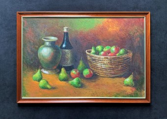 Antique 'Wine & Fruit' A Quality Contemporary Mahogany Framed Still Life Oil Painting