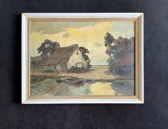 Antique Excellent Quality Original Country Landscape Oil Painting - Early 20thc - Signed