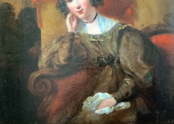 Antique Circle Of 'Sir Thomas Lawrence' (1769-1830) Society Lady Oil Portrait Painting