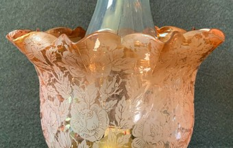 Antique Beautiful 19th Century Victorian Amber Glass Twin Burning Ceramic Table Oil Lamp