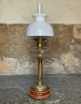 Superb Tall 19thc 'Matador' Brown Ceramic & Milky White Brass Table Oil Lamp