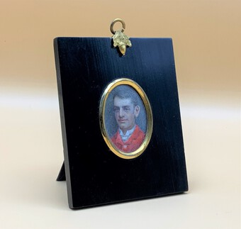 Fine 19thc Miniature Watercolour Portrait Painting Of 'William George Dickinson'