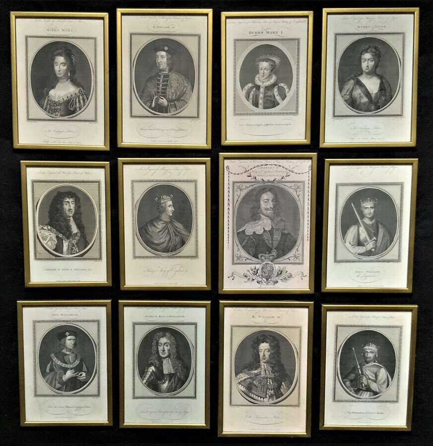 Rare Set of 12 Original 18th Century Engraving's Of Kings & Queens of England