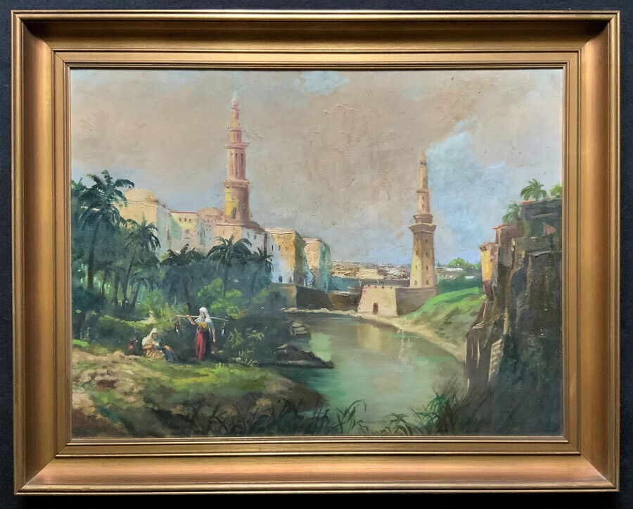 Large Early 1900s North African Cityscape With Mosque Oil Painting On Canvas