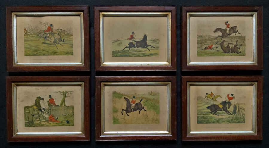 Set of Six 19thc Oak framed Humorous Coloured Sporting Hunting Engraving's