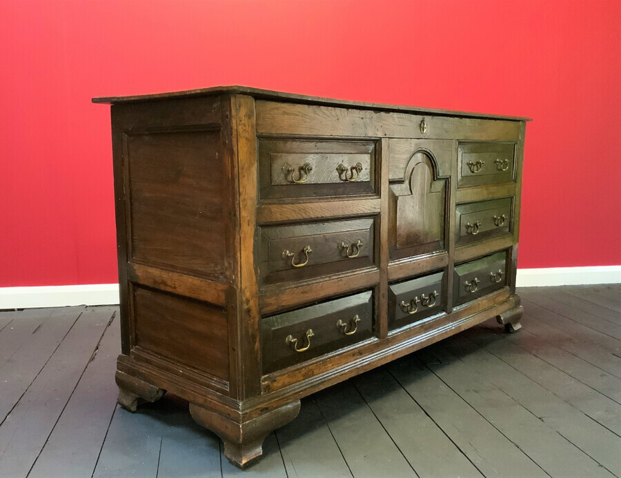 Antique Beautiful 18thc Georgian Period English Country Oak Mule Chest Sideboard Cabinet